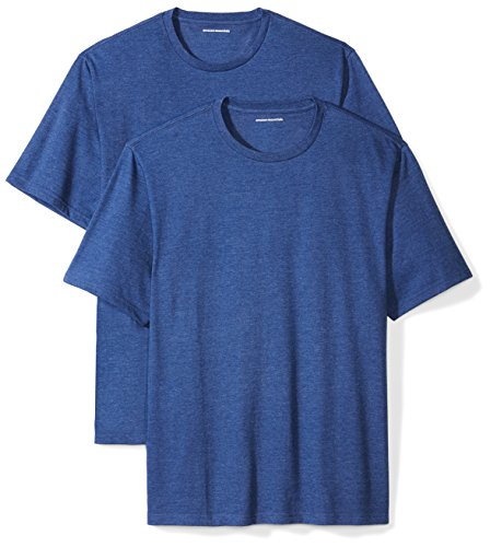 Amazon Essentials Men's 2-Pack Loose-Fit Short-Sleeve Crewneck T-Shirts, navy heather, Small ()