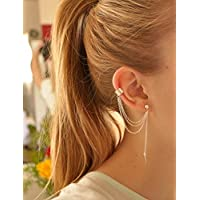 Unicra Fashion Multilayer Tassel Earrings Ear Clips with Leaf Shape for Women and Teen Girls