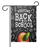 ShineSnow Welcome Back To School Apple Bus Small Mini Double Sided Garden Yard Flag 12'' x 18'', School Days Colorful Summer Autumn Fall Decorative Garden Flag Banner for Outdoor Home Decor Party