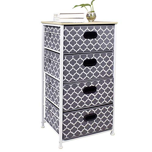 Homyfort Dresser Storage Tower 4 Drawer Chest, Fabric Tower Organizer Unit for Bedroom, Closet, Dorm, Entryway, Hallway, Nursery Room (Of Drawers Chest Lingerie)