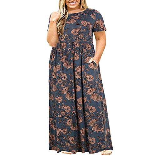 Women Dress Summer Loose Plus Size Short Sleeve Printing Dress O-Neck Long Dress with Pockets Brown ()