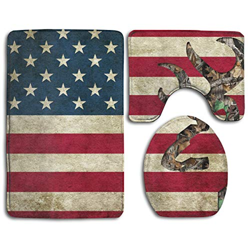 CHUFZSD American Flag Deer Camo Bathroom Carpet Rug 3 Piece Soft Family Flannel Bath U Contour Non-Slip Mat Set Lid Toilet Cover
