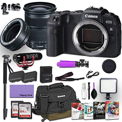 Canon EOS RP Mirrorless Digital Camera with EF 24-105mm f/4L is STM Lens and Canon Mount Adapter EF-EOS R kit Bundled w/Deluxe Accessories (Rode Microphone, 4-Pack Photo Editing Software and More)