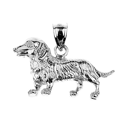 Polished 925 Sterling Silver Weiner Dog Dachshund Charm Pendant