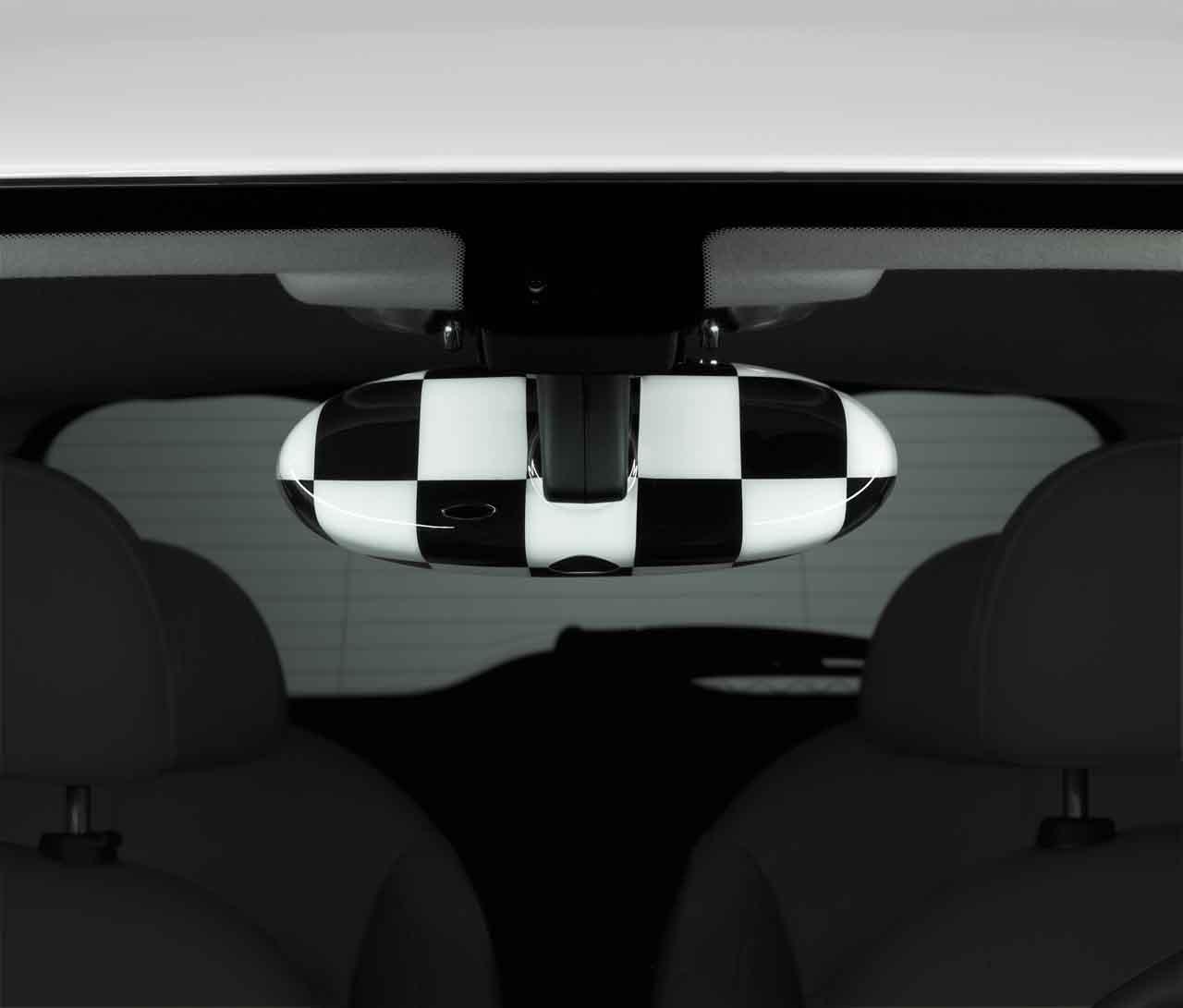 Mini echt Innen Rear View Mirror Cover Cap kariert Flagge 82252336854