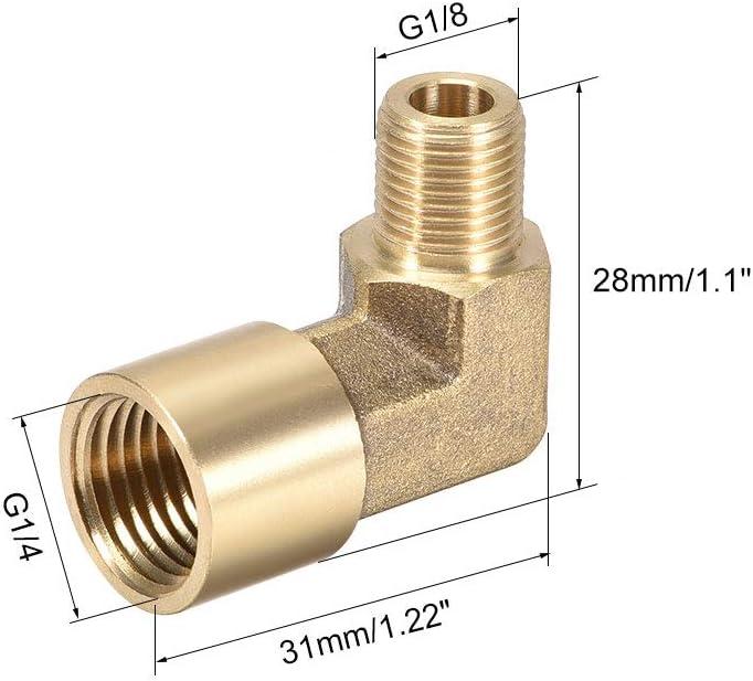 2 unidades, macho x hembra Codo de lat/ón para tuber/ía de 90 grados Sourcingmap
