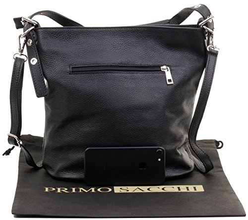 Leather Bag Includes Bag a Sacchi Branded Storage Black Body Protective Grab Textured Shoulder Handbag Primo Italian Cross 8tqvS