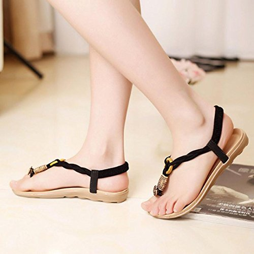 Bohemia Sandals 5 Toe Beaded Shoes Clip Summer Beach US Women TM Sandals DEESEE Sweet 6 Black wa8z6txWq