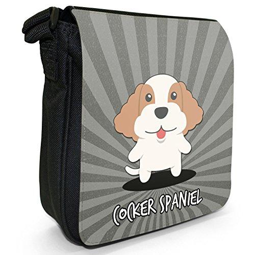 Englische Cartoon-Hunde Kleine Schultertasche aus schwarzem Canvas Cocker Spaniel