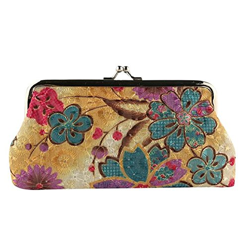 - Ladies Flower Print Wallet Credit Card Holders Wallet Large Capacity Purse Metal Frame Kissing Lock Coin Retro Clutch