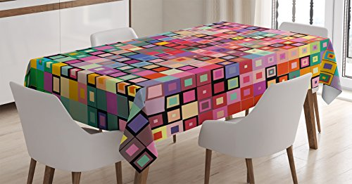 Modern Decor Tablecloth by Ambesonne, Rainbow Like Colorful Design with Geometrical Details Squares with Dots Image, Dining Room Kitchen Rectangular Table Cover, 52 W X 70 L Inches, Multicolor
