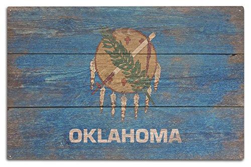 Rustic Oklahoma State Flag (10x15 Wood Wall Sign, Wall Decor Ready to Hang) ()