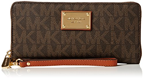 Michael Kors Women's Jet Set Travel Continental Wristlet, Brown, - Elegant Signed