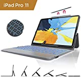 iPad 11 Keyboard Case - Ultra Slim iPad Case with Keyboard [Fit for Apple Pencil Charging] - 7 Colors Backlit - Stand Folio Case Cover - BT Wireless Keyboards for New iPad Pro 11 - 2018 Tablet (Grey)