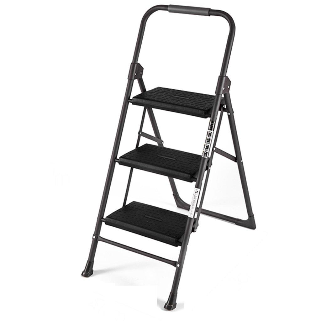 黒い折り畳み可能なはしご高品質のアルミニウムハイクライミングステップスツールはしご3つのステップ手すり付きの小さな階段 B07FL4S9MD