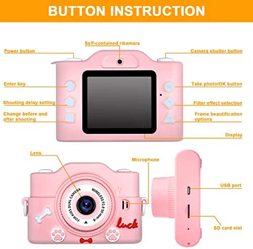 Mini Kids Camera for Girls and Boys, Digital Dual-Camera Anti-Drop Selfie Children Cartoon Camera Toys for Christmas Birthday Gift with 32GB Memory Card 2.0 Inches Screen (Pink)