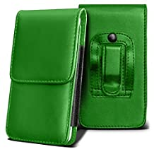 SONY XPERIA ION Holster Case - ( Green ) Universal Vertical Pouch Flip Belt Clip PU Leather Wallet Case Bag
