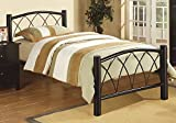1PerfectChoice Youth Kids Arched X Style Headboard Footboard Black Metal Slats Full Bed