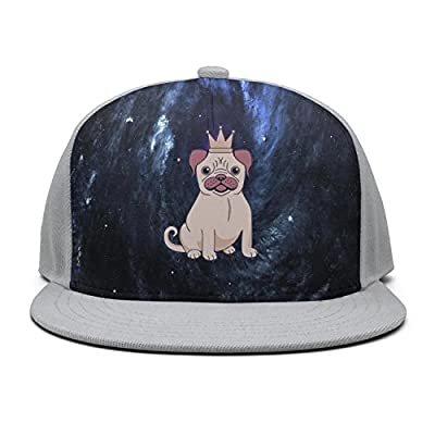 Trum Namii Unisex Flat caps Pug Puppy with Crown Men Snapback Hats