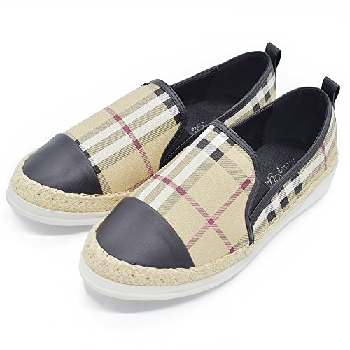Shoes Leather Plaid (Tengyu Leather Slip On Flat for Womens Fashion Sneakers Plaid Loafers Espadrilles Comfort Driving Holiday Shoes (9 B(M)US/40 EU/25cm, Black))