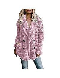 Helury Women's Long Sleeve Faux Fur Coat Button Down Jacket with Pockets Winter