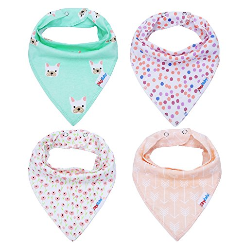 Ncybaby Baby Bandana Drool Teething Bibs for Boys and Girls 100% Organic Cotton Bibs for Shower Gift Set Super Absorbency 4 Pack