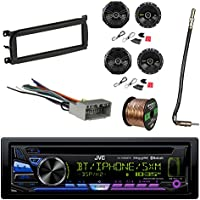 JVC 1-DIN Bluetooth Car Stereo with Kicker 600W SPKR(2-Pairs), Metra Dash Kit For Chry/Dodge/Jeep 98-Up, Metra Antenna Adapter Cable, Metra Radio Wiring Harness & Enrock 16G 50 Speaker Wire