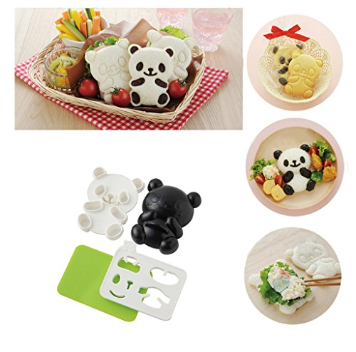 OHF 4 in 1 Bento Accessories Baby Panda Mold Rice Mold Onigiri Shaper and Dry Roasted Seaweed Cutter Set by OHF
