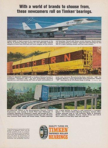 Timken Bearings ad 1966 XB-70 Southern RR Hopper Pittsburgh Transit PA (Southern Hopper)