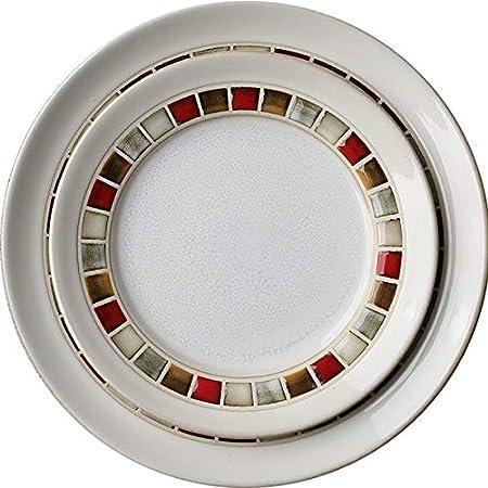 HIZLJJ Tazón de cerámica Color Plaid Plado Plato Redondo de ...