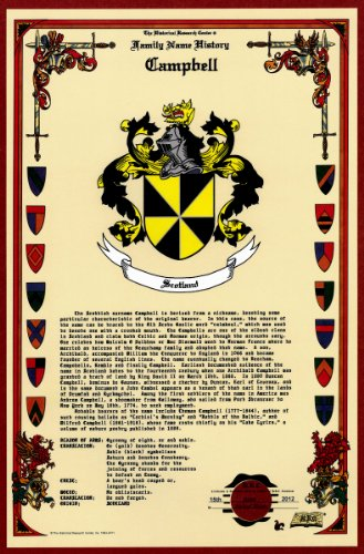 Campbell Coat of Arms/Crest and Family Name History, meaning & origin plus Genealogy/Family Tree Research aid to help find clues to ancestry, roots, namesakes and ancestors plus many other surnames at the Historical Research Center Store (Crest Family Surname)
