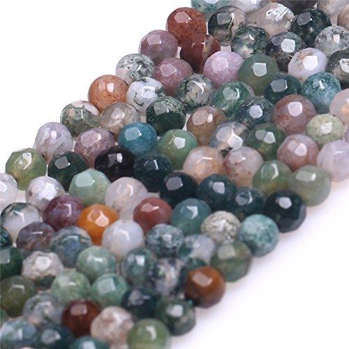 Agate Precious Stone Semi (Faceted Indian Agate Rhodochrosite Semi Precious Gemstone Beads for Jewelry Making 15'' (4mm))