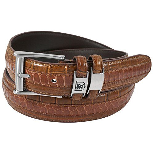 Stacy Adams Men's 35mm Genuine Snakeskin With Leather Embossed Crocodile And Lizard Belt, Cognac, 40 (Snakeskin Embossed Leather)