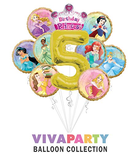 Princess Once Upon A Time Happy Birthday Balloon Bouquet 10 pc, 5th Birthday, | Viva Party Balloon Collection