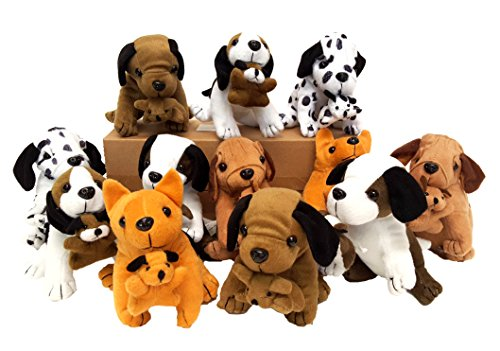 Plush Dogs Holding Puppies, (12 Dogs) ()