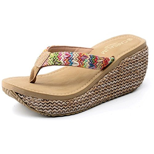 Maybest Women's Bohemian Summer Platform Wedge Beach Flip Flop Toe High Heel Thong Sandals ( Beige 8 B (M) US )