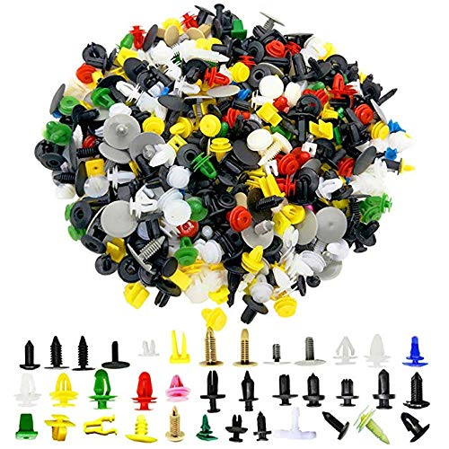 440PCS Auto Car Retainer Clips Fastener Bumper Clips Door Panel Fender Liner Retainer Plastic Push Pin Rivet Set Screw Clips