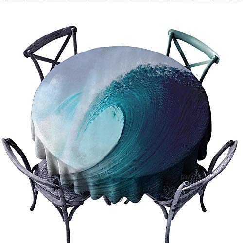 (Ocean Decor Collection Dinning Tabletop DecorTropical Surfing Wave on a Windy Sea Indonesia Sumatra Picture Print Dust-Proof Round Tablecloth (Round, 50 Inch, Blue Aqua White))