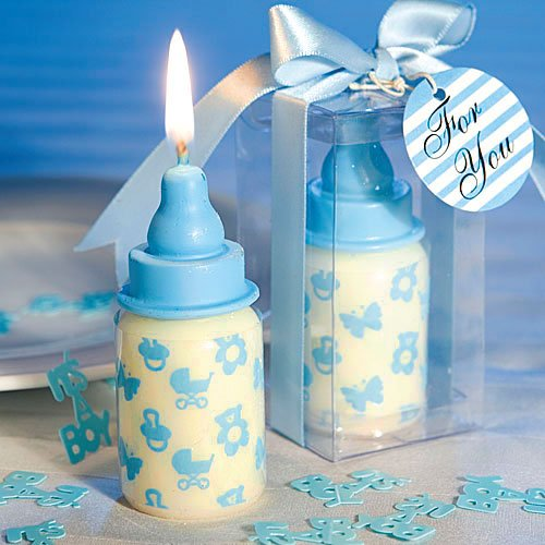 Original Feeding Bottle Birthday Candle Cake Topper Baby Shower Favors with Greeting Card Party Decoration (BLUE) from Sweet Homes & Gardens