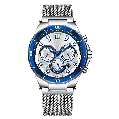 ZBBLJY Mens Watches, Ultra Slim Wristwatch with Date Calendar Display Stainless Steel Band,Minimalist Analogue Quartz Wrist Watch for Men,b4