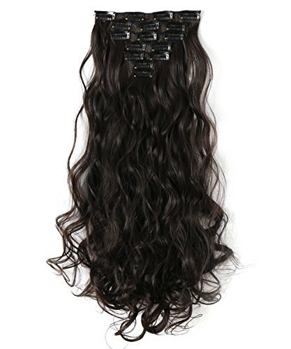 OneDor 20 Inches Curly Full Head Clip in Synthetic Hair Extensions 7pcs 140g (4#-Dark Brown) ()