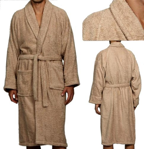Marrikas Unisex X-LARGE Egyptian Cotton Quality TAUPE ROBE - Marrikas Mens Robe