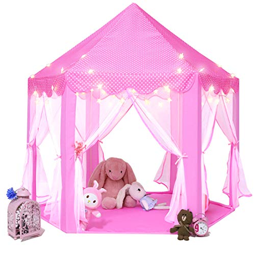 Monobeach Kids Play House Princess Tent - Indoor and Outdoor Hexagon Pink Castle Play Tent for Girls with Light