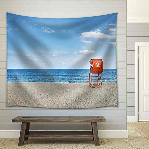 Lifeguard Tower and Sandy Beach Fabric Wall