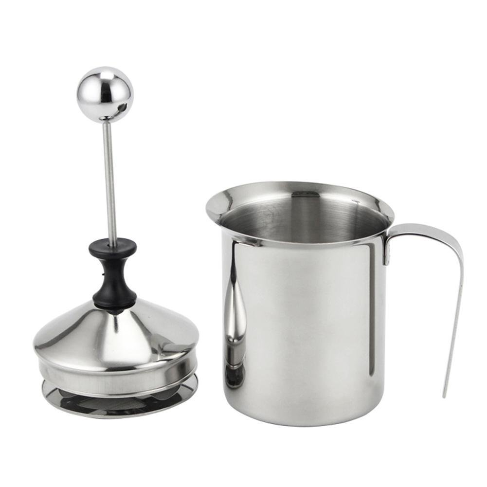 Taloyer Stainless Steel Milk Frother Double Mesh Coffee Tea Milk Creamer Manual Operated Hand Pump Foamer