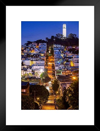 Coit Tower San Francisco California at Night Photo Art Print Matted Framed Wall Art 20x26 inch
