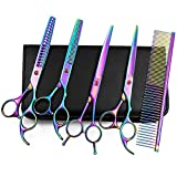 Moontay Professional 7.0' Pet Grooming Scissors Set, 4-Pieces 440C Japanese Steel Straight & Curved & Thinning & Chunker Shears/Scissors with 1 Grooming Comb for Dog Cat and More Pets, Multicolour