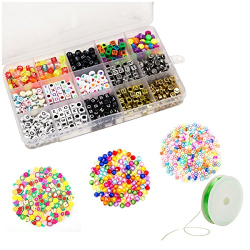 Word Beads Set - Biubee 1500 Pcs Acrylic Alphabet Letter A-Z Cube and Round Beads- 18 Styles Letter Beads with Elastic String Cord for Necklace, Bracelet, Kids Jewelry Making