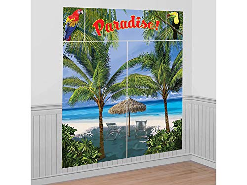 (Hawaiian Summer Luau Beach Front & Palm Trees Scene Setter Kit, 5 Pieces, Made from Vinyl, Multicolor, 65
