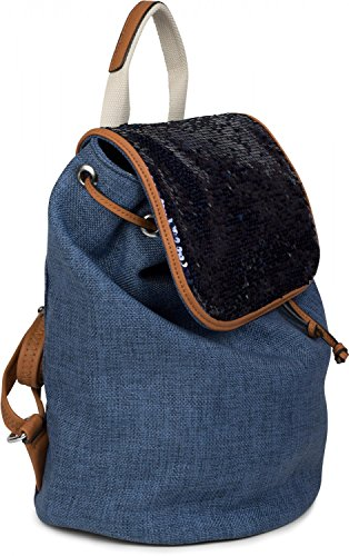 rucksack ladies Grey 02012155 Color look sequins with rollover backpack on linen bag styleBREAKER Red dxpgqd